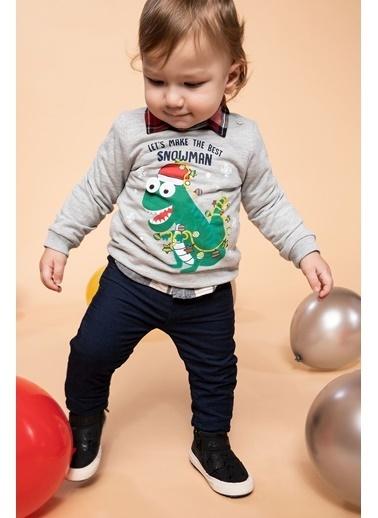 DeFacto Erkek Bebek Dinazor Baskılı Sweatshirt Gri